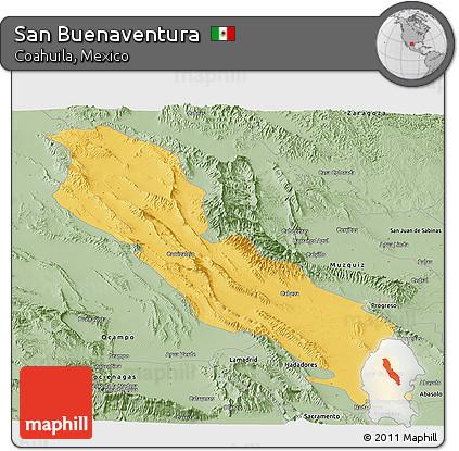 Free Savanna Style Panoramic Map of San Buenaventura