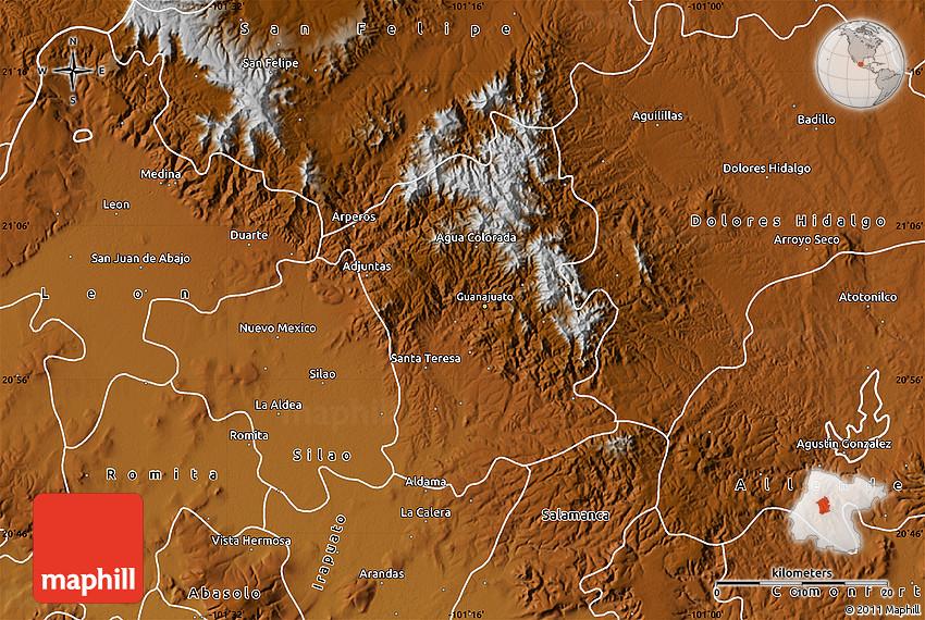 Mexico Map Guanajuato.Physical Map Of Guanajuato
