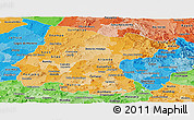 Political Shades Panoramic Map of Guanajuato