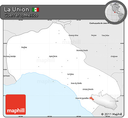 Free Silver Style Simple Map Of La Union - Launion map