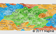 Political Shades Panoramic Map of Hidalgo