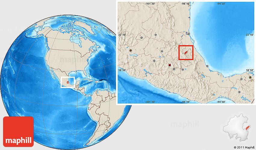 Shaded Relief Location Map of San Bartolo Tutotepec