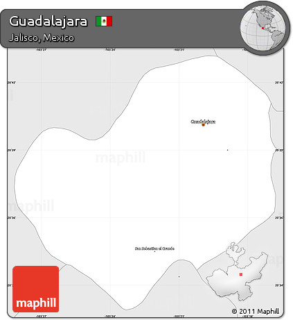 Free Silver Style Simple Map Of Guadalajara
