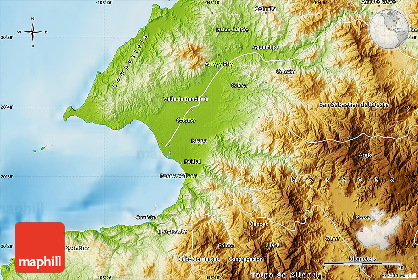 Physical Map of Puerto Vallarta