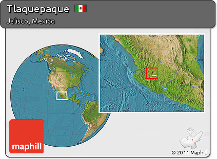 Free Satellite Location Map of Tlaquepaque