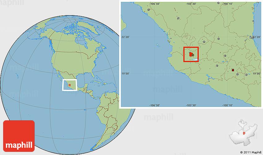 Savanna Style Location Map of Zapopan