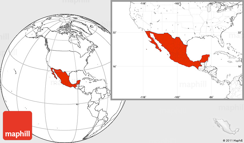 Blank Location Map of Mexico – Plain Map of Mexico