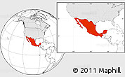 Blank Location Map of Mexico, highlighted continent