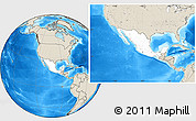 Blank Location Map of Mexico, shaded relief outside