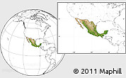 Satellite Location Map of Mexico, blank outside
