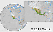 Satellite Location Map of Mexico, lighten, desaturated