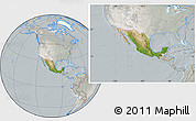 Satellite Location Map of Mexico, lighten, semi-desaturated