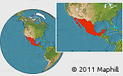 Satellite Location Map of Mexico
