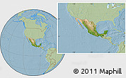 Satellite Location Map of Mexico, savanna style outside, hill shading