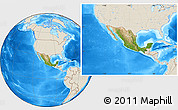 Satellite Location Map of Mexico, shaded relief outside