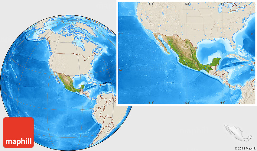 satellite location map of mexico shaded relief outside