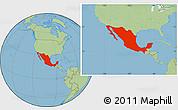 Savanna Style Location Map of Mexico