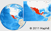 Shaded Relief Location Map of Mexico, highlighted continent