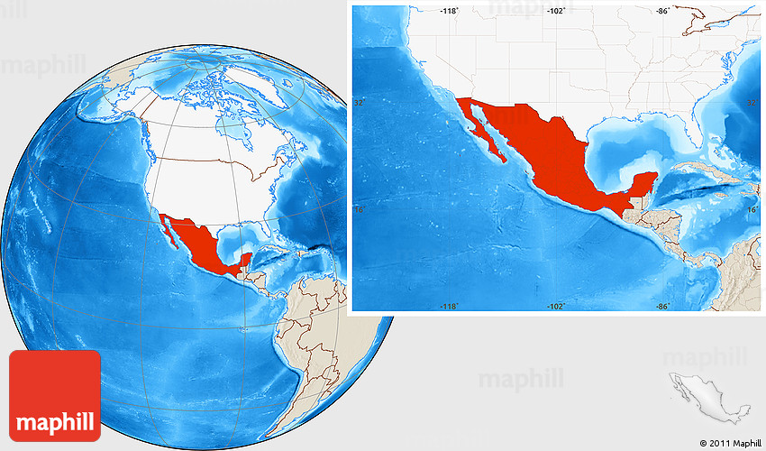 Shaded Relief Location Map of Mexico highlighted continent