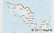 Classic Style Map of Mexico, single color outside