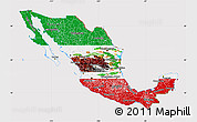 Flag Map of Mexico, flag rotated