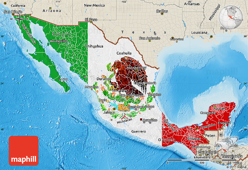 Flag Map Of Mexico Shaded Relief Outside