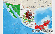 Flag Map of Mexico, shaded relief outside