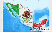 Flag Map of Mexico, single color outside, bathymetry sea
