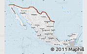 Gray Map of Mexico, single color outside