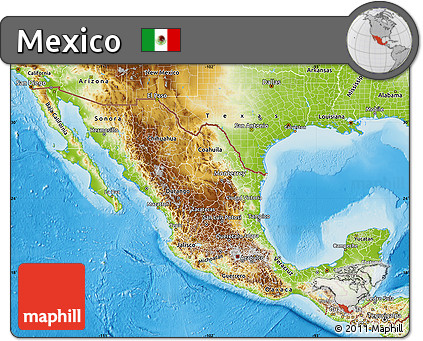 Free Physical Map of Mexico