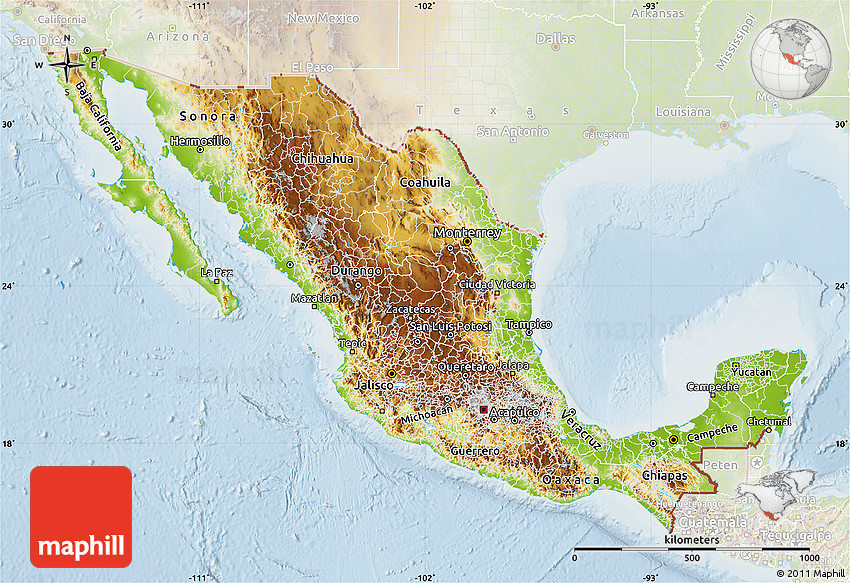 Physical Map of Mexico, lighten