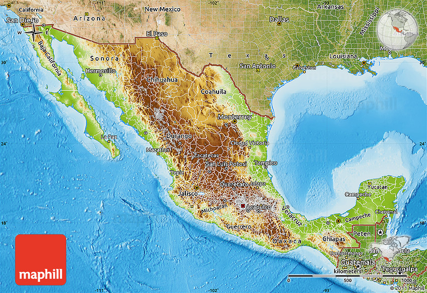 Physical Map Of Mexico Satellite Outside Shaded Relief Sea - Satellite mexico map