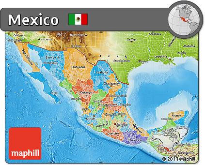 Free Political Map of Mexico, physical outside