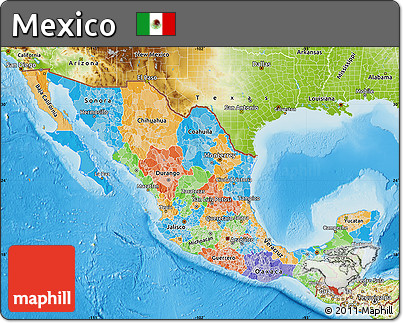 Free Political Map Of Mexico Physical Outside - Mexico political map