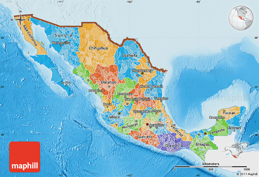 Political Map of Mexico single color outside shaded relief sea