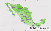 Political Shades Map of Mexico, cropped outside