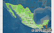 Political Shades Map of Mexico, darken