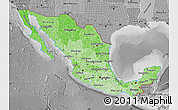 Political Shades Map of Mexico, desaturated