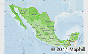 Political Shades Map of Mexico, lighten