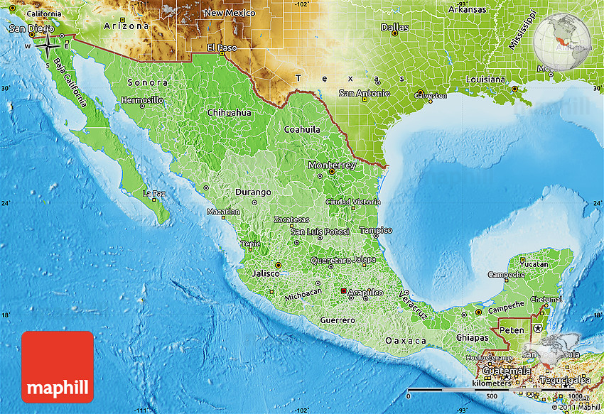 Political Shades Map of Mexico, physical outside