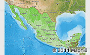 Political Shades Map of Mexico, satellite outside, bathymetry sea