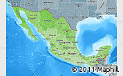 Political Shades Map of Mexico, semi-desaturated, land only