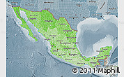Political Shades Map of Mexico, semi-desaturated