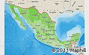 Political Shades Map of Mexico, shaded relief outside, bathymetry sea
