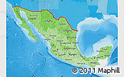 Political Shades Map of Mexico, single color outside