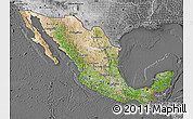 Satellite Map of Mexico, desaturated