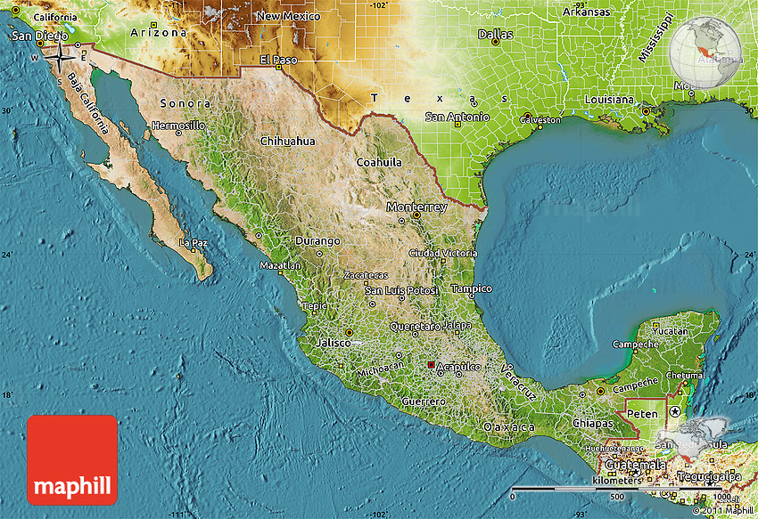 Satellite Map of Mexico physical outside satellite sea – Geographical Map of Mexico