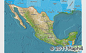 Satellite Map of Mexico, political shades outside, satellite sea