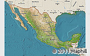 Satellite Map of Mexico, shaded relief outside, satellite sea