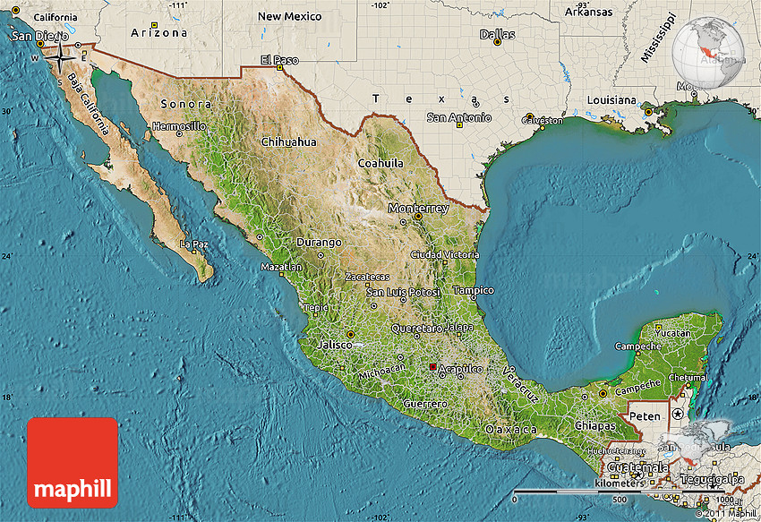 Satellite Map Of Mexico Shaded Relief Outside Satellite Sea - Satellite mexico map